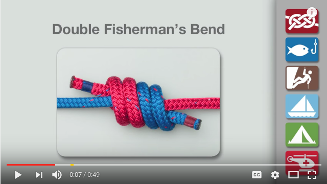 Double Fisherman knot-tying video
